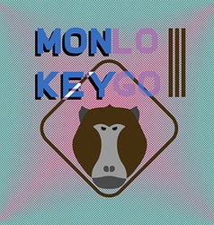 Logotype with head of monkey baboon aggressive vector