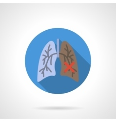 Normal and damaged lungs flat round icon vector