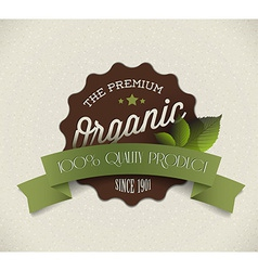 Old round retro vintage grunge label for organic vector