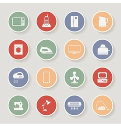 Round home appliances icons vector