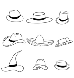 set classic hats vector image vector image