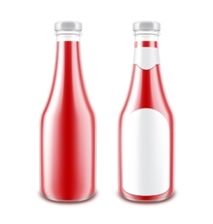 Set of glasstomato ketchup bottle for branding vector