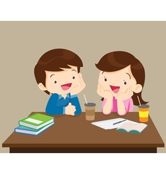 students boy and girl sitting friendly vector image vector image
