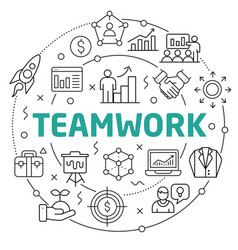teamwork linear slide for the vector image vector image
