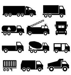 Trucks and transportation icon set vector