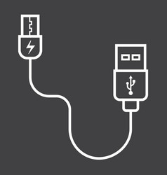 Usb cable line icon connector and charger vector