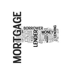 what to look for from mortgage lenders text word vector image