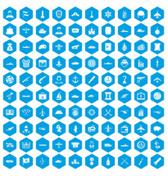 100 combat vehicles icons set blue vector