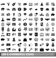 100 e-commerce icons set simple style vector image vector image