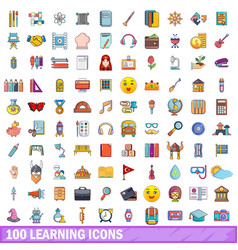 100 learning icons set cartoon style vector image vector image