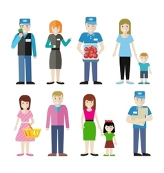 Set of Store Personnel and Customers Characters vector image