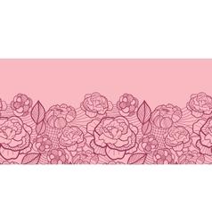 Red line art flowers horizontal seamless pattern vector image