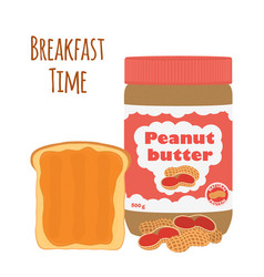 Peanut butter with toast bread with butter nuts vector