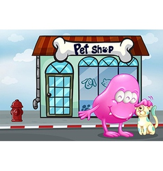 A pink beanie monster and a pet in front of the vector image