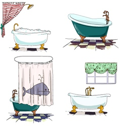 Bathtubs cartoon style bathroom interior element vector