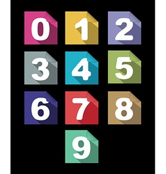 Flat paper numbers set with long shadows vector