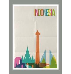 Travel indonesia landmarks skyline vintage poster vector
