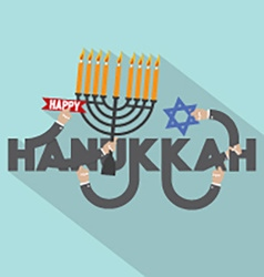 Happy hanukkah typography design vector