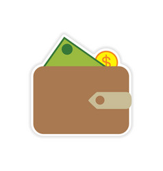 Stylish sticker on paper purse and money vector