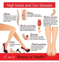 High heels and our disease infografic vector