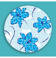 Blue mosaic flower vector