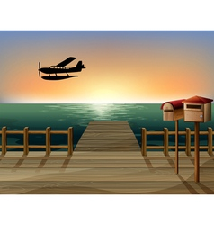 A sunset at the port with two wooden mailboxes vector image vector image