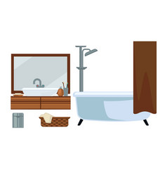 Bathroom fruniture and bathing accessories vector
