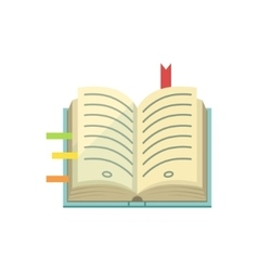 Book with post it stickers as bookmarks vector