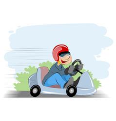 boy and car vector image