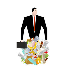 Businessman in garbage heap boss in pile rubbish vector