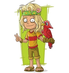 Cartoon hippie man with red bird vector image