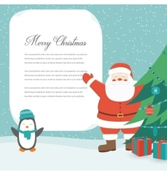 Christmas card with santa claus template with vector
