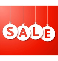 Christmas sale balls cut the paper vector image