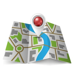 City map with red pointer vector image vector image