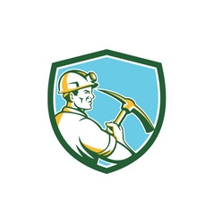 Coal Miner Hardhat With Pick Axe Side Shield Retro vector image vector image