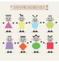 Cute basic shape body buddies characters icons set vector