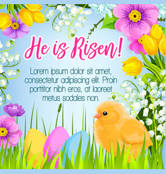 Easter poster card paschal eggs greetings vector