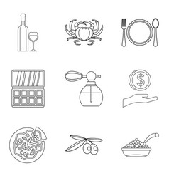 Elite place icons set outline style vector
