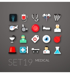 Flat icons set 19 vector image vector image