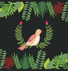 Floral with bird leaves border decoration design vector