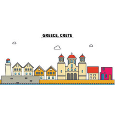 greece crete city skyline architecture vector image