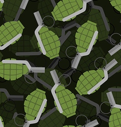 Hand grenade 3D seamless pattern Bomb Explosive vector image