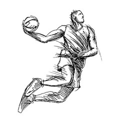 Hand sketch basketball player vector
