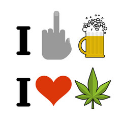 I hate alcohol i like drugs symbol of hatred vector