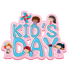 Kids day poster design with happy kids vector