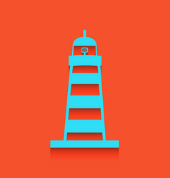Lighthouse sign whitish icon vector