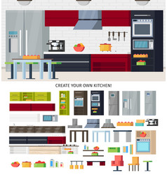 modern kitchen equipment template vector image