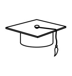 monochrome contour with graduation cap vector image vector image