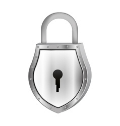 Padlock with shield shape body and shackle vector