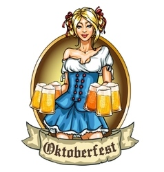 Pretty bavarian girl with beer vector